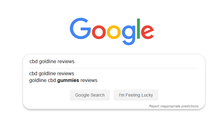 Google search for CBD GoldLine reviews